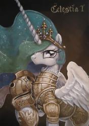 Size: 655x928   Tagged: safe, artist:graffegruam, princess celestia, alicorn, pony, acrylic painting, armor, female, helmet, mare, portrait, raised hoof, solo, traditional art, warrior celestia