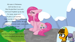 Size: 1366x768   Tagged: safe, artist:nyan-cat-luver2000, cheese sandwich, maud pie, pinkie pie, alternate universe, reworked lyrics, singing, smile song, the rock farmer's daughters
