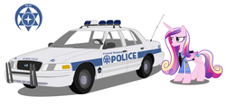 Size: 2996x1404 | Tagged: artist:artistbrony, car, clothes, crown victoria, ford, police, police uniform, princess cadance, safe, solo, uniform