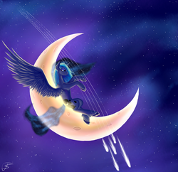 Size: 1000x969 | Tagged: safe, artist:tangosierrag82, princess luna, crescent moon, moon, night, shooting star, solo, stars, tangible heavenly object, transparent moon