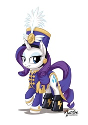 Size: 955x1351 | Tagged: safe, artist:mysticalpha, rarity, pony, unicorn, testing testing 1-2-3, ancient wonderbolts uniform, boots, clothes, female, hat, looking at you, mare, raised hoof, sgt. rarity, shako, shoes, simple background, smiling, smirk, solo, uniform, white background, wonderbolts uniform