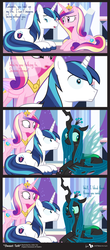 Size: 855x1944   Tagged: safe, artist:dm29, princess cadance, queen chrysalis, shining armor, alicorn, changeling, changeling queen, pony, unicorn, chrysarmordance, comic, cute, cutealis, disguise, disguised changeling, fake cadance, feels, female, sad, shining armor gets all the mares, shining armor is a goddamn moron, shipping, trio, vector