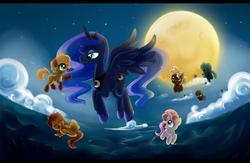 Size: 2300x1500 | Tagged: safe, artist:exceru-karina, baby moondancer, princess luna, oc, oc:gari, oc:magpie, oc:night light, oc:spirit, oc:trotamundo, children of the night, filly, moon, night