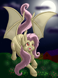 Size: 2454x3276 | Tagged: safe, artist:nekotigerfire, fluttershy, bat pony, pony, bats!, flutterbat, moon, night, race swap, solo