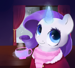 Size: 1000x915   Tagged: safe, artist:poniebones, rarity, clothes, coat, female, hot chocolate, marshmallow, rarity using marshmallows, scarf, snow, snowfall, solo, winter