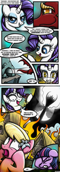 Size: 1240x3508 | Tagged: safe, artist:rambopvp, basil, lily, lily valley, rarity, twilight sparkle, dragon, dragonshy, bad end, comic, destruction, facehoof, fire, gone horribly right, greed, greedity, red dragon, the horror, wahaha