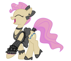 Size: 1209x1036 | Tagged: safe, artist:cxfantasy, mayor mare, idw, 80s mayor mare, bracelet, clothes, earring, female, high heels, idw showified, necklace, non-dyed mayor, simple background, solo, tail wrap, transparent background, vector, younger