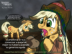 Size: 1280x960 | Tagged: safe, artist:jcosneverexisted, applejack, peru, potato, potatojack, spanish