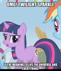 Size: 1494x1743 | Tagged: safe, edit, edited screencap, screencap, twilight sparkle, turtle, fall weather friends, 42, cropped, hitchhiker's guide to the galaxy, meme, omg, running of the leaves