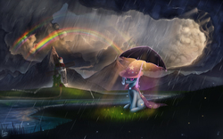 Size: 4000x2500 | Tagged: safe, artist:rain-gear, trixie, pony, unicorn, cape, clothes, cloud, cloudy, double rainbow, female, fence, grass, hat, magic, mare, mountain, rain, rainbow, river, scenery, scenery porn, solo, storm, sunshine, trixie's cape, trixie's hat, umbrella, windmill