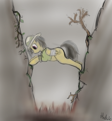 Size: 1200x1295 | Tagged: safe, artist:headcrabik, daring do, pegasus, pony, female, injured, injured wing, looking down, mare, solo, spikes, wings