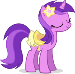 Size: 1280x1260   Tagged: safe, artist:liggliluff, amethyst star, sparkler, pony, unicorn, awwmethyst star, background pony, clothes, cute, eyes closed, female, flower, flower in hair, happy, mare, saddle, simple background, skirt, smiling, solo, transparent background, vector
