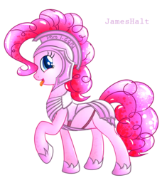 Size: 5266x5783 | Tagged: absurd res, armor, artist:haltie, pinkie pie, safe, solo, tongue out