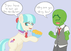 Size: 1296x936 | Tagged: safe, artist:m8, coco pommel, oc, oc:anon, earth pony, human, pony, /mlp/, bipedal, blushing, bouquet, bowl, clothes, dandelion, female, flower, hoof hold, kid anon, looking away, mare, necktie, nervous, open mouth, pure unfiltered evil, shy, smiling, speech bubble, sweat, vest, wavy mouth, you have to eat all the eggs