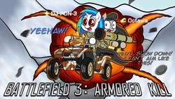 Size: 1920x1080   Tagged: safe, artist:scramjet747, dj pon-3, octavia melody, vinyl scratch, atv, battlefield, battlefield 3, explosion, rocket launcher