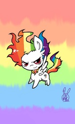 Size: 640x1059 | Tagged: safe, artist:dokuusagi0193, rainbow dash, element of loyalty, pixiv, solo, super rainbow dash
