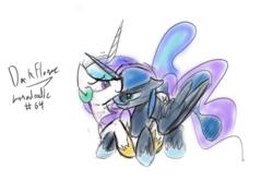 Size: 1280x848 | Tagged: safe, artist:darkflame75, princess celestia, princess luna, lunadoodle, sketch