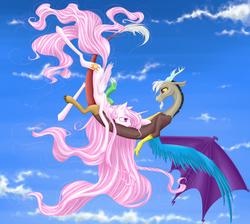 Size: 2458x2200 | Tagged: safe, artist:holka13, discord, princess celestia, dislestia, female, flying, male, pink-mane celestia, shipping, straight, younger