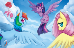 Size: 765x495 | Tagged: safe, artist:mousu, fluttershy, gummy, pinkie pie, rainbow dash, twilight sparkle, alicorn, pony, balloon, cloud, cloudy, female, floating, flying, looking at you, looking back, mare, plot, sky, then watch her balloons lift her up to the sky, twilight sparkle (alicorn)