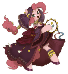 Size: 1000x1094 | Tagged: safe, artist:umeguru, pinkie pie, pony, semi-anthro, alternate hairstyle, arm hooves, bipedal, clothes, dress, female, gypsy bard, gypsy pie, looking at you, musical instrument, open mouth, romani, solo, tambourine