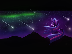Size: 1600x1200 | Tagged: safe, artist:firgof, twilight sparkle, aurora borealis, crying, dramatic, meteor shower, night, solo, stars