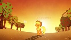 Size: 1920x1080   Tagged: safe, artist:dwindlekin, artist:hawk9mm, applejack, earth pony, pony, apple tree, female, hat, lens flare, mare, pose, shadow, solo, sweet apple acres, tree, vector, wallpaper
