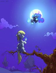 Size: 1503x1936 | Tagged: safe, artist:kaermter, derpy hooves, princess luna, pegasus, pony, drink, female, levitation, magic, mare, moon, night, sitting, sitting in a tree, telekinesis, tree