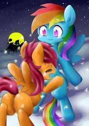 Size: 1024x1449 | Tagged: safe, artist:miya, rainbow dash, scootaloo, featureless crotch, moon, night, pixiv, scootalove