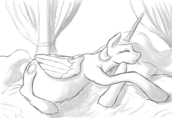 Size: 1251x860 | Tagged: safe, artist:patch, princess celestia, bed, belly, eyes closed, female, monochrome, preglestia, pregnant, prone, sketch, sleeping, smiling, solo