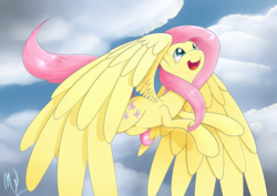Size: 4092x2893 | Tagged: absurd res, artist:malwinters, cute, fluttershy, flying, happy, large wings, looking up, open mouth, safe, shyabetes, sky, smiling, solo, spread wings