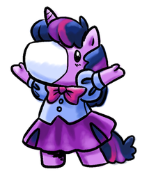 Size: 513x600 | Tagged: safe, artist:needsmoarg4, twilight sparkle, equestria girls outfit, g1, g4 to g1, generation leap, takara pony