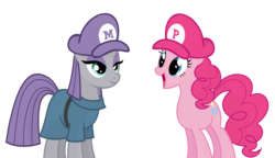 Size: 2146x1239 | Tagged: artist:flare-chaser, hat, mario, mario & luigi, maud pie, pie sisters, pinkie pie, safe, simple background, smiling, super mario bros., transparent background, vector, when she smiles