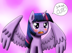 Size: 1023x759   Tagged: safe, artist:jc-the-penguin, twilight sparkle, alicorn, pony, adorkable, angry, annoyed, blatant lies, blushing, cute, denial, dialogue, dork, embarrassed, female, i'm not cute, lies, mare, open mouth, princess tsunlight, solo, spread wings, talking, tsundere, tsunlight sparkle, twiabetes, twilight sparkle (alicorn)
