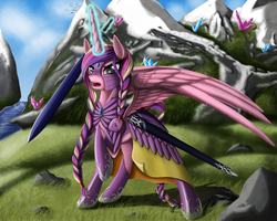 Size: 1625x1300 | Tagged: safe, artist:nalesia, princess cadance, alternate hairstyle, armor, braid, commission, crystal, female, glare, grass, magic, mountain, open mouth, raised hoof, river, snow, solo, spread wings, sword, telekinesis, warrior, warrior cadance, weapon