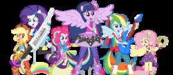 Size: 1431x622 | Tagged: safe, artist:vaniaeditors, applejack, fluttershy, pinkie pie, rainbow dash, rarity, twilight sparkle, equestria girls, rainbow rocks, bass guitar, drums, guitar, keytar, mane six, microphone, musical instrument, ponied up, tambourine, the rainbooms