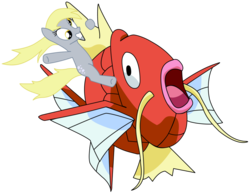 Size: 1018x784 | Tagged: safe, artist:metalbeersolid, derpy hooves, fish, magikarp, pegasus, pony, duo, female, mare, open mouth, pokémon, ponies riding pokémon, riding, wingless
