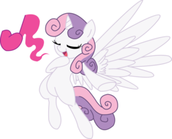 Size: 2480x2005 | Tagged: alicorn, alicornified, artist:discommunicator, artist:fluttershy750, pony, race swap, safe, solo, sweetie belle, sweetiecorn, this will end in tears and/or death and/or covered in tree sap, trace