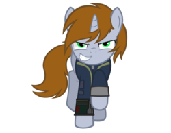 Size: 2192x1705   Tagged: safe, artist:aborrozakale, oc, oc only, oc:littlepip, pony, unicorn, fallout equestria, clothes, fallout, fanfic, fanfic art, female, hooves, horn, mare, pipbuck, show accurate, simple background, smiling, solo, teeth, transparent background, vault suit