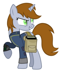 Size: 3244x3809   Tagged: safe, artist:aborrozakale, oc, oc only, oc:littlepip, pony, unicorn, fallout equestria, inspiration manifestation, black book, book, clothes, corrupted, fallout, fanfic, fanfic art, female, hooves, horn, mare, pipbuck, possessed, saddle bag, show accurate, simple background, smiling, solo, teeth, this will end in tears, transparent background, vault suit