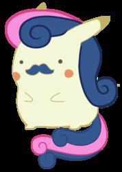 Size: 688x969 | Tagged: safe, artist:bradleydoom, bon bon, sweetie drops, pikachu, facial hair, female, moustache, pokefied, pokémon, simple background, solo, species swap, transparent background