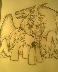 Size: 505x624 | Tagged: safe, artist:dragonataxia, dracony, dragon, pony, unicorn, clothes, fairy tail, fire, monochrome, natsu dragneel, ponified, scarf, smiling, smirk, solo, traditional art