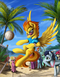 Size: 1800x2300 | Tagged: safe, artist:yakovlev-vad, berry punch, berryshine, lily, lily valley, lyra heartstrings, minuette, rainbow dash, roseluck, soarin', spitfire, trixie, crab, earth pony, pegasus, pony, unicorn, beach, beach volleyball, clothes, female, male, mare, palm tree, scenery, stallion, sunglasses, tree, volleyball, volleyball net, water