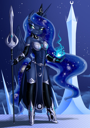 Size: 1130x1600 | Tagged: safe, artist:crovirus, princess luna, alicorn, anthro, unguligrade anthro, armor, bedroom eyes, clothes, crystal, earring, female, high heels, magic, moon, night, piercing, smiling, solo, spear, stars, tower, warrior luna, weapon