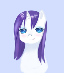 Size: 700x800 | Tagged: safe, artist:shouyu musume, rarity, bedroom eyes, female, licking lips, looking at you, pixiv, solo, wet, wet mane, wet mane rarity