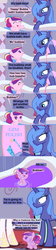 Size: 1120x5040 | Tagged: safe, artist:beavernator, princess cadance, princess celestia, princess luna, crystal pony, pony, all glory to the beaver grenadier, baby, baby pony, baby talk, bath, beavernator is trying to murder us, cute, cutedance, foal, foreshadowing, origin story, pegasus cadance, s1 luna, the fun has been bubbled, the fun has been doubled, uh oh