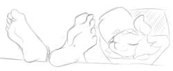 Size: 678x279 | Tagged: safe, artist:sweethd, oc, oc only, oc:honey dip, anthro, plantigrade anthro, anthro oc, barefoot, feet, foot fetish, foot focus, monochrome, simple background, soles, solo, toe ring, toes, white background