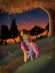 Size: 3000x3982 | Tagged: safe, artist:loll164, cheese sandwich, pinkie pie, autumn, cheesepie, eyes closed, fanfic art, fanfic cover, female, leaves, male, scenery, shipping, straight, tree