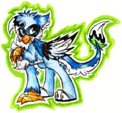 Size: 1237x1141 | Tagged: safe, artist:iroxykun, oc, oc only, oc:jayfeather, blue jay, griffon, bluejay griffon, cutie mark, griffon oc, male, solo