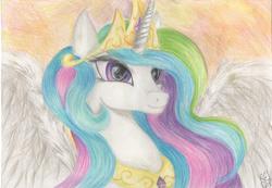 Size: 3413x2357 | Tagged: safe, artist:kei1510, princess celestia, solo, traditional art