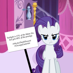 Size: 720x720   Tagged: safe, rarity, 83%, background pony strikes again, drama, mouthpiece, op is a duck, op is trying to start shit, picket sign, twilicorn spotlight drama
